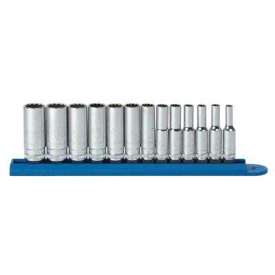 1/4 in. Drive Metric 12-Point Deep Socket Set (13-Piece)