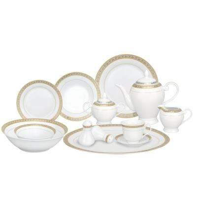 57-Piece Silver Border Porcelain Dinnerware Set