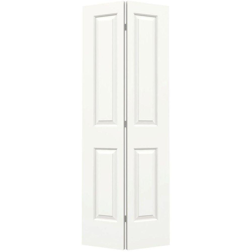 JELD-WEN 30 in. x 80 in. Cambridge White Painted Smooth Molded Composite MDF Closet Bi-Fold Door -  I06346