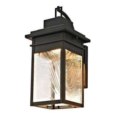 LED Integrated Outdoor Wall Sconce with Watered Glass, Dark Bronze