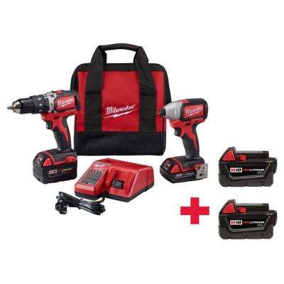 M18 18-Volt Lithium-Ion Cordless Compact Brushless Hammer Drill/Impact Combo Kit with Free 2-Pack 3.0AH Batteries