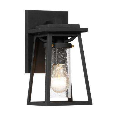 Lanister Court Small 1-Light Sand Black with Gold Outdoor Light Wall Sconce