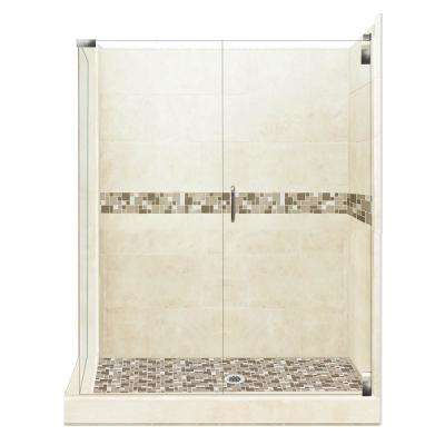 Tuscany Grand Hinged 32 in. x 36 in. x 80 in. Right-Hand Corner Shower Kit in Desert Sand and Satin Nickel Hardware