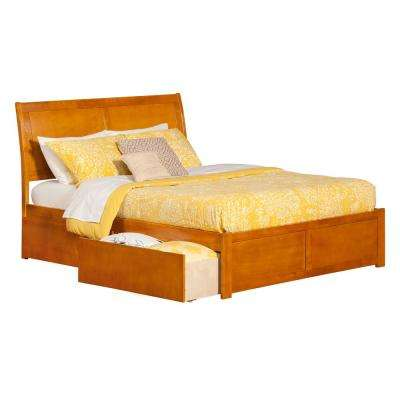 Portland Caramel Latte Queen Platform Bed with Flat Panel Foot Board and 2-Urban Bed Drawers