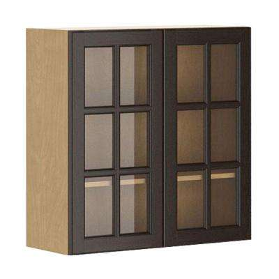 Naples Wall Cabinet in Maple Melamine and Glass