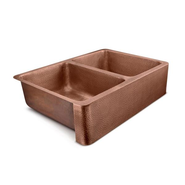 Lange Farmhouse Apron-Front Handmade Copper 32 in. 50/50 Double Bowl Kitchen Sink in Hammered Antique Copper