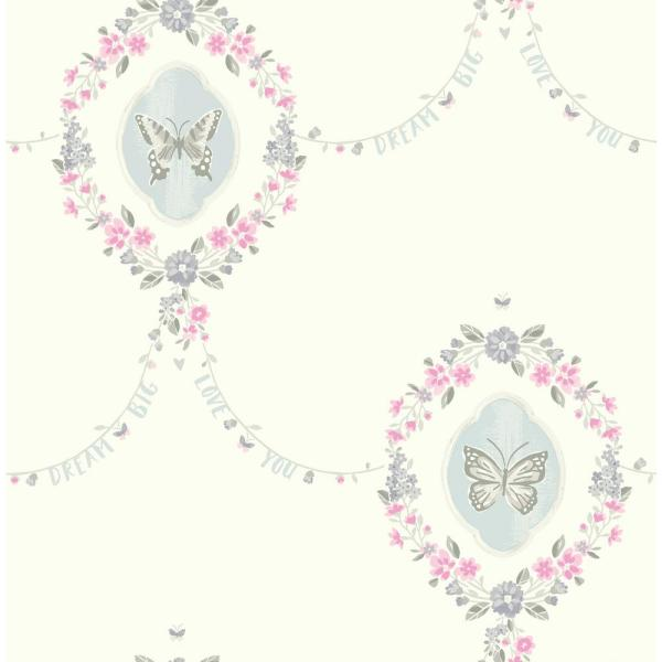 Wallquest Kids Flutter Pink and Metallic Silver Butterfly Wallpaper FA41408