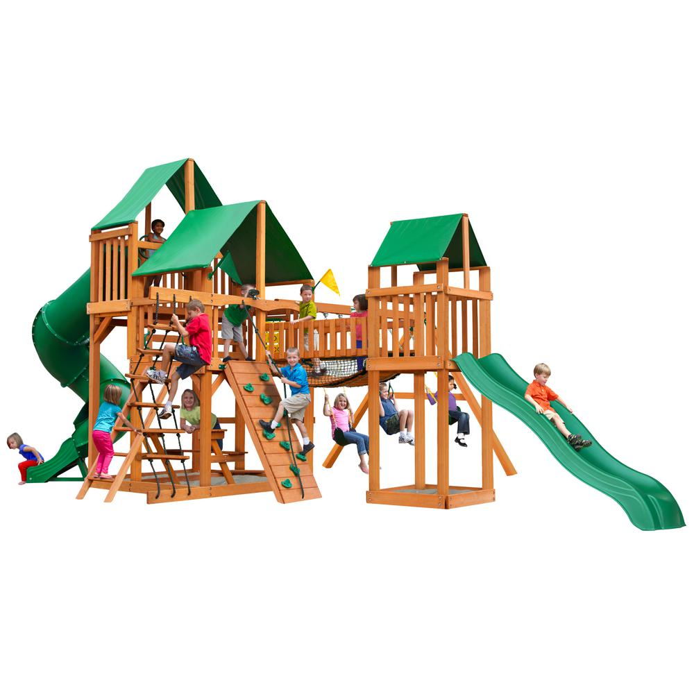 Gorilla Playsets Treasure Trove I Wooden Swing Set with Green Vinyl Canopy and 2 Slides
