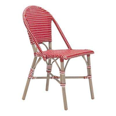 Paris Patio Dining Chair in Red and White (Pack of 2)