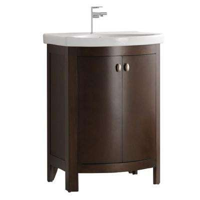 Niagara 24 in. W Traditional Bathroom Vanity in Antique Coffee with Vanity Top in White with White Basin