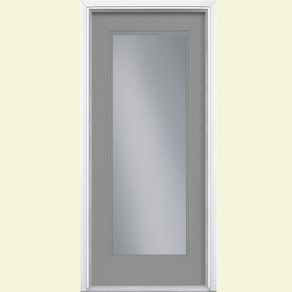 Masonite 32 in. x 80 in. Full Lite Left Hand Inswing Painted Smooth Fiberglass Prehung Front Door w/ Brickmold