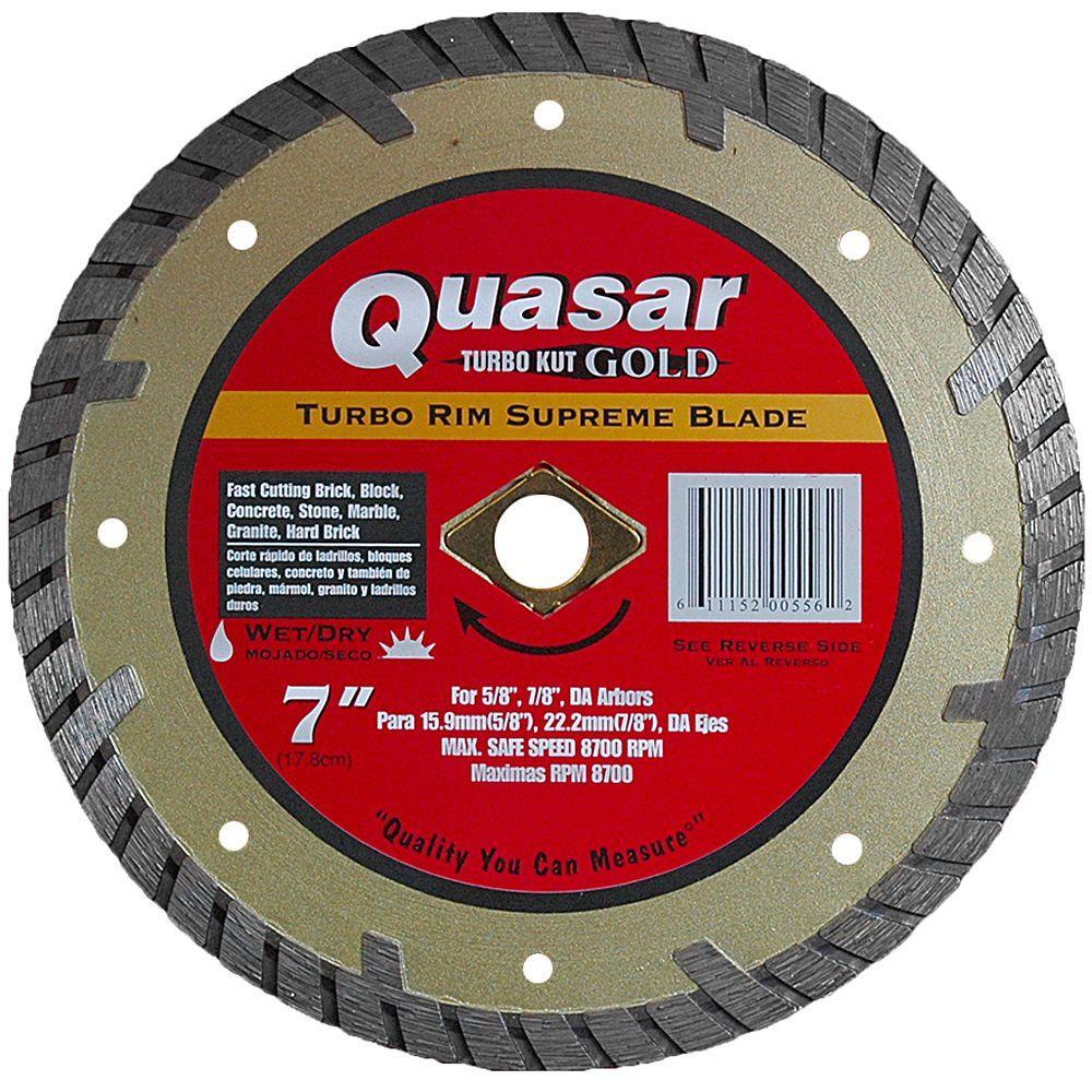 Quasar Turbo Kut Gold 7 in. Turbo Rim Supreme Diamond Blade
