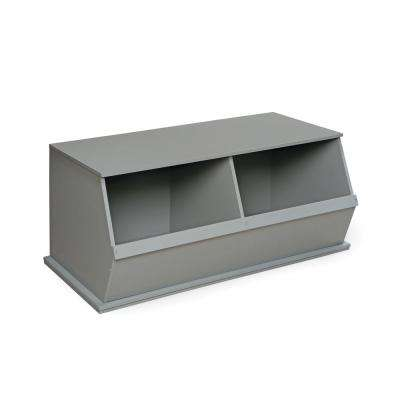 37 in. W x 17 in. H x 19 in. D Gray Stackable 2-Storage Cubbies