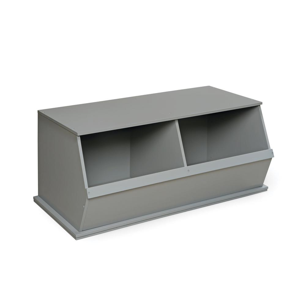 37.25 in. W x 19.25 in. D Gray Stackable 2-Storage Cubbies