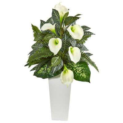 Indoor 3 ft. Calla Lily and Mixed Greens Artificial Plant in White Vase