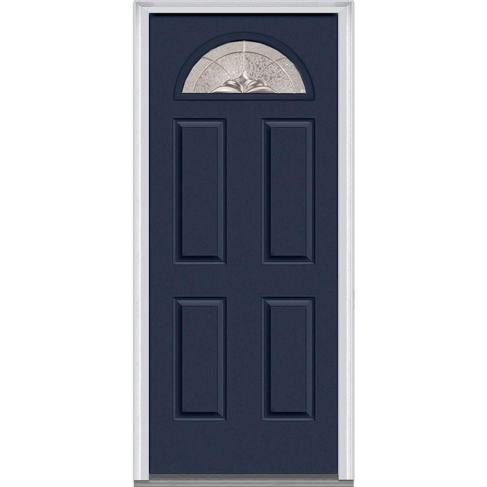 36 in. x 80 in. Heirloom Master Left-Hand Inswing 1/4-Lite Decorative 4-Panel Classic Painted Steel Prehung Front Door