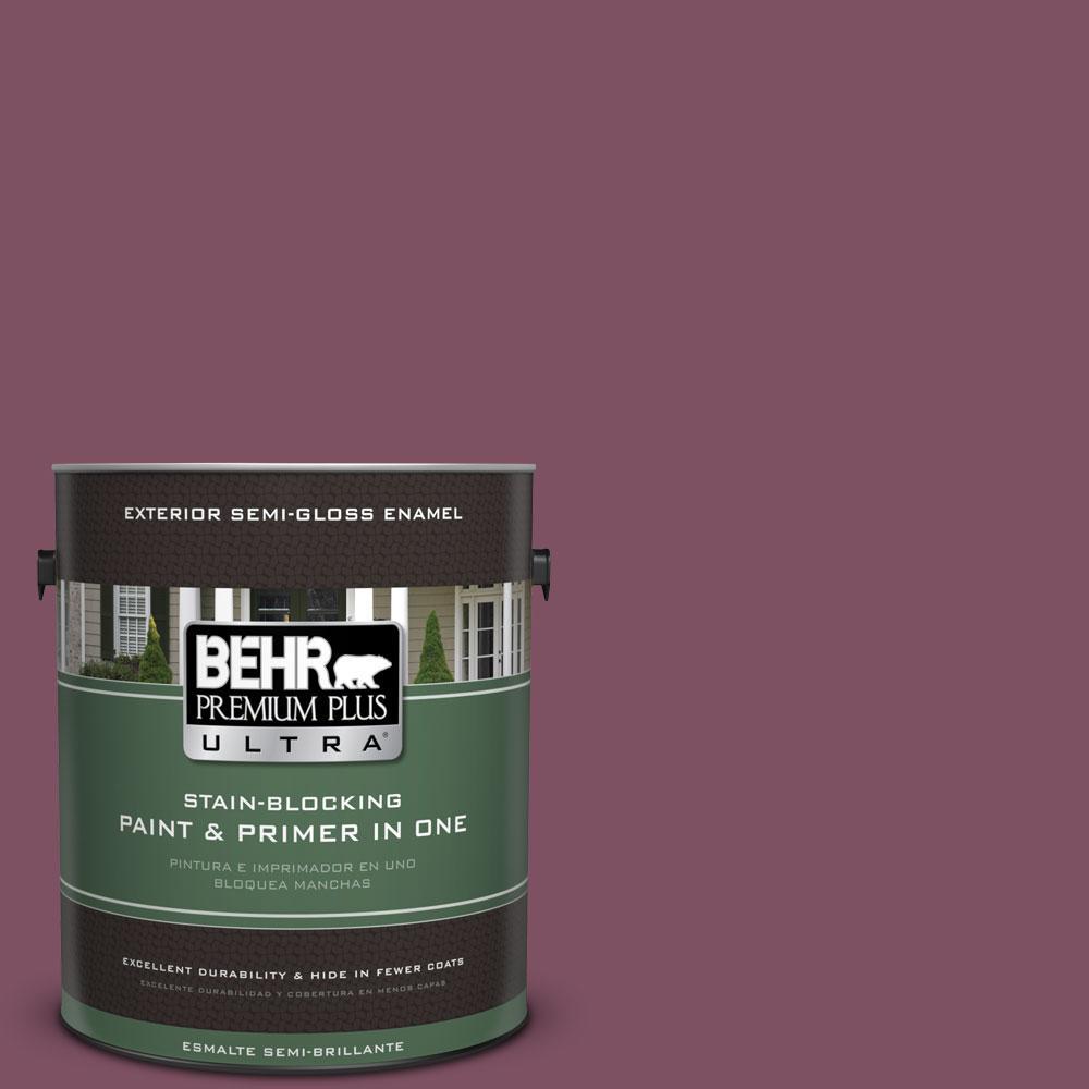 BEHR Premium Plus Ultra 1-gal. #PPU1-19 Classic Berry Semi-Gloss Enamel Exterior Paint