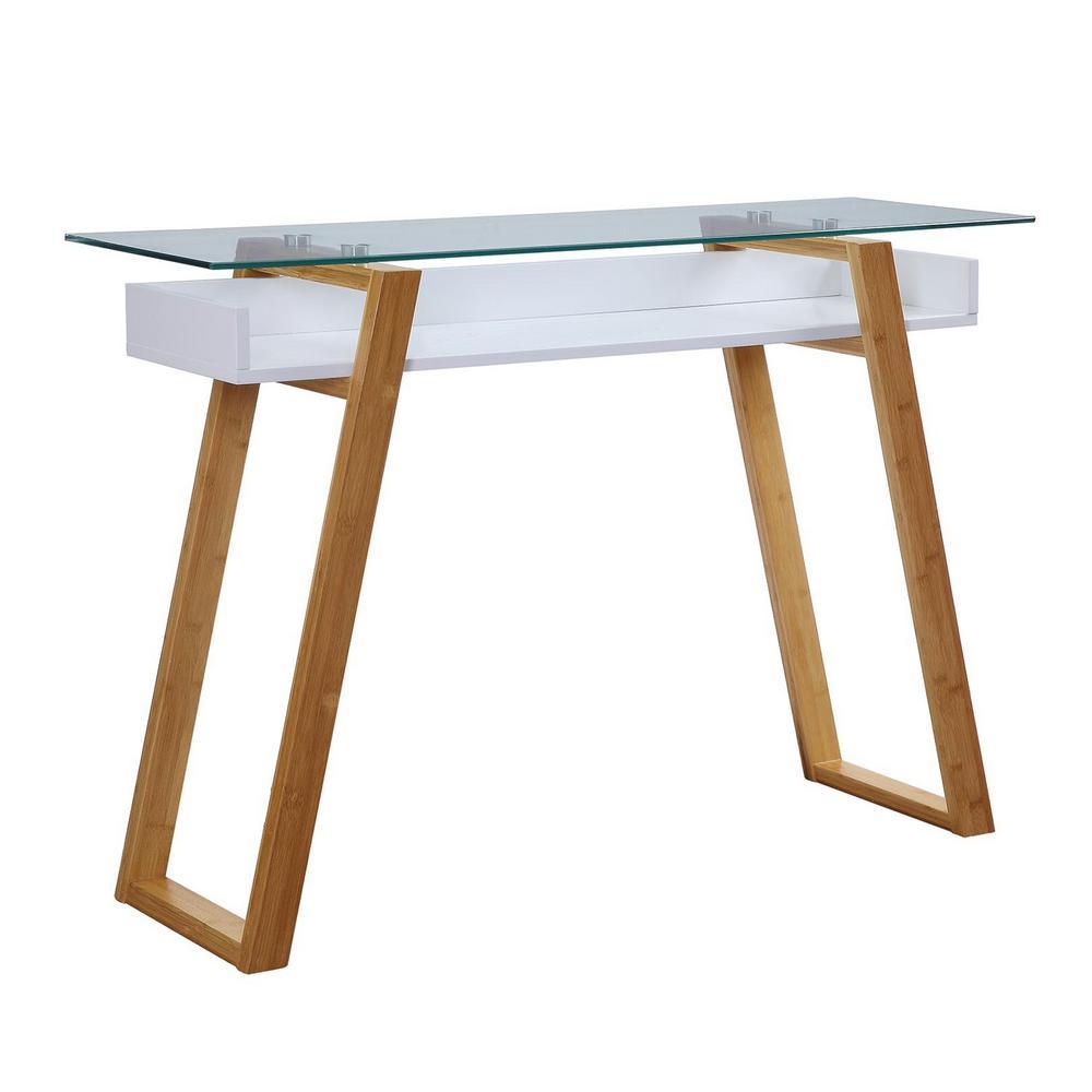 Oslo Sundance White and Bamboo Console Table