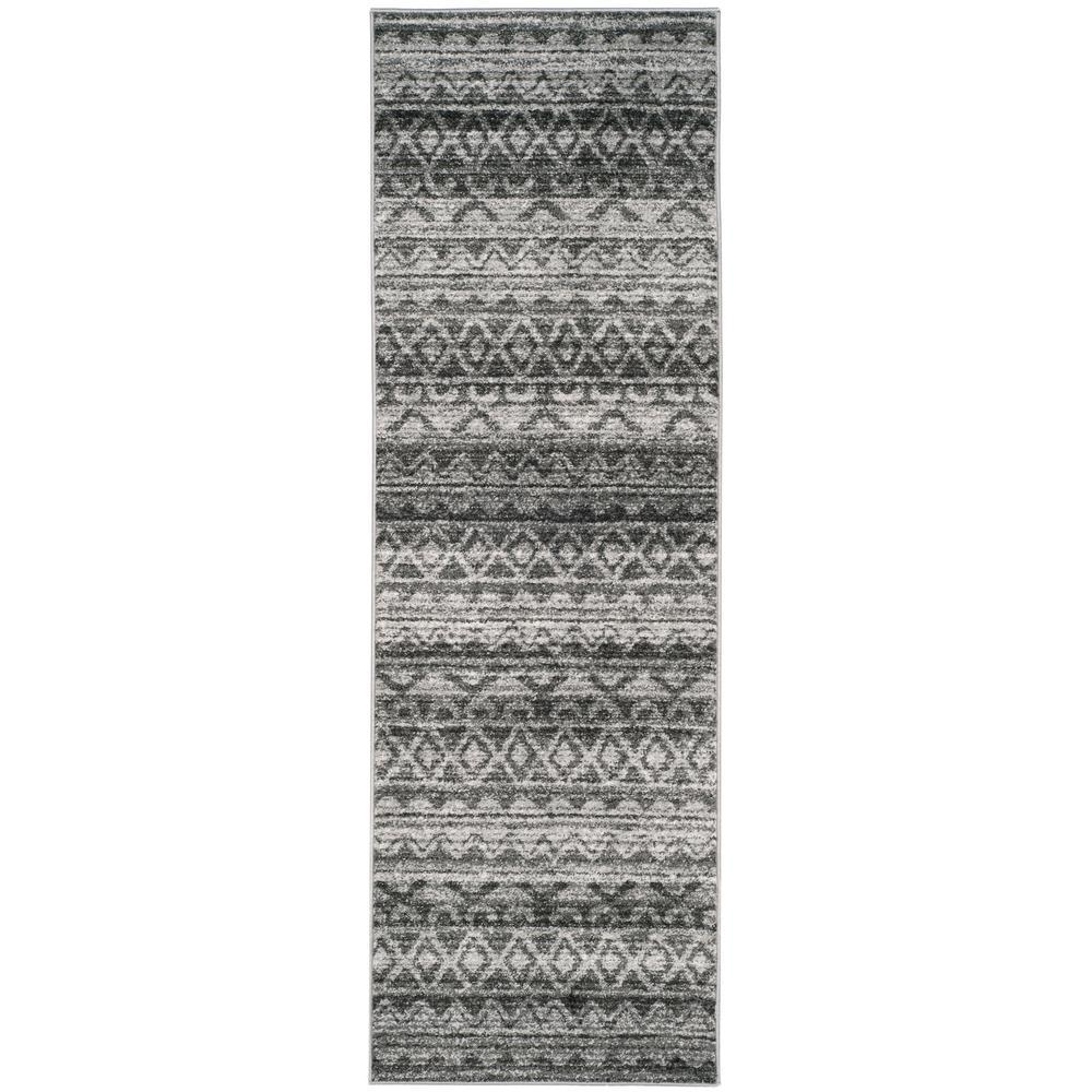 Adirondack Ivory/Charcoal 3 ft. x 10 ft. Runner Rug