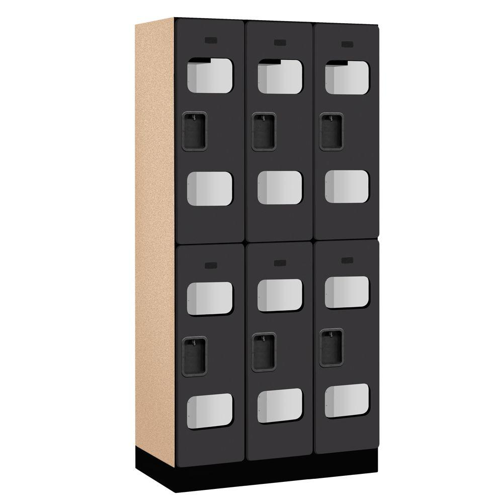 Salsbury Industries S-32000 Series 36 in. W x 76 in. H x 18 in. D 2-Tier See-Through Designer Wood Locker in Black