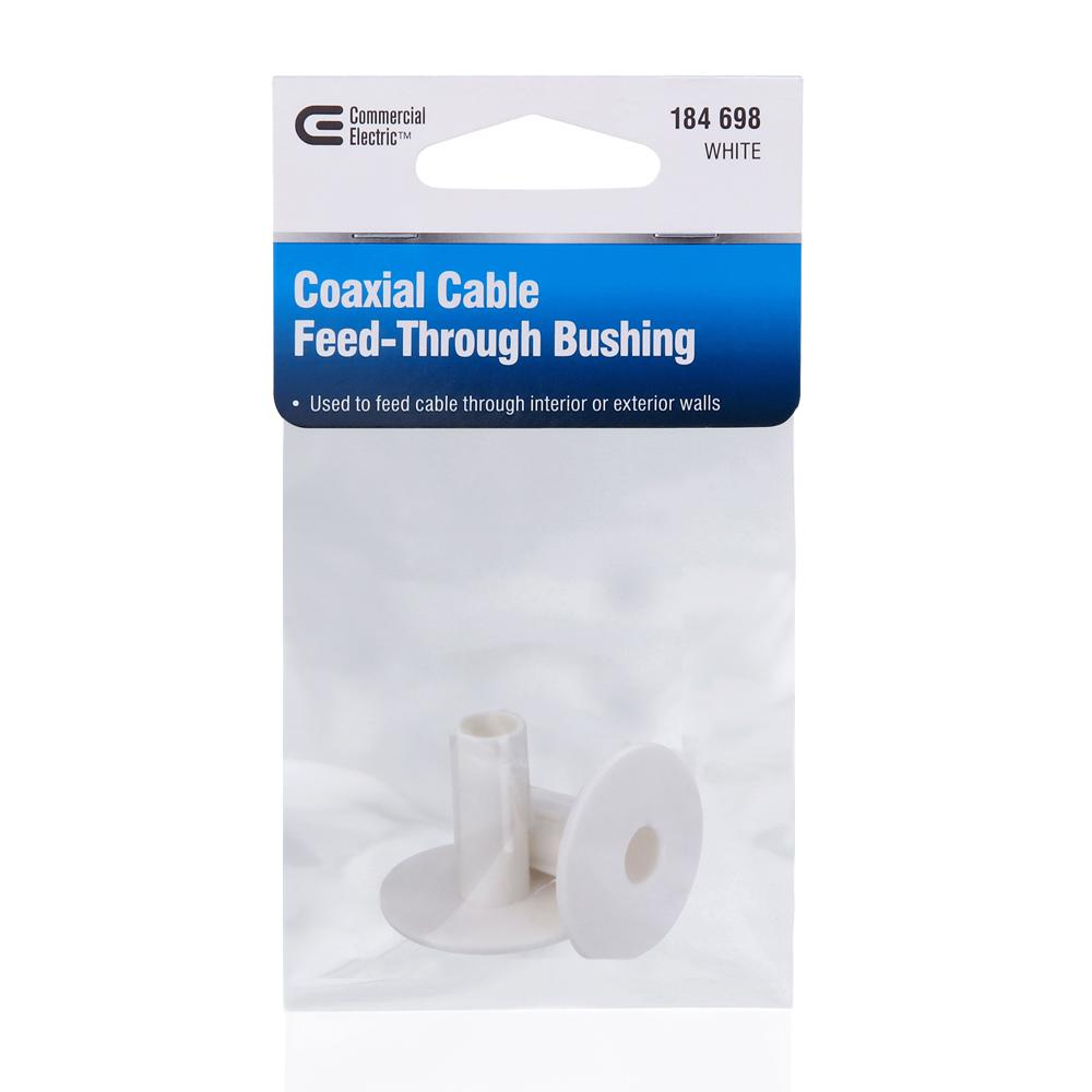 Dual Coax Cable Feed Through Bushing 2 Pack White Cable TV Satellite Internet