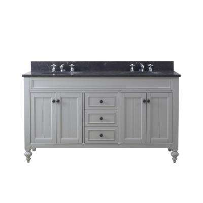 Potenza 60 in. W x 33 in. H Vanity in Earl Grey with Granite Vanity Top in Blue Limestone with White Basins