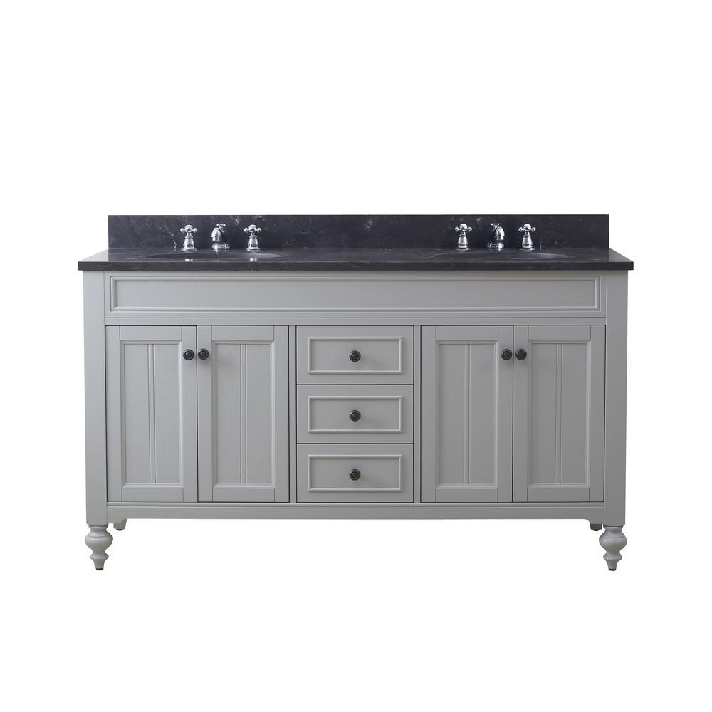Potenza 60 in. W x 33 in. H Vanity in Earl Grey with Granite Vanity Top in Blue Limestone with White Basins