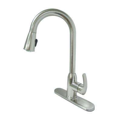 Dominion Single-Handle Pull-Down Sprayer Kitchen Faucet in Brushed Nickel