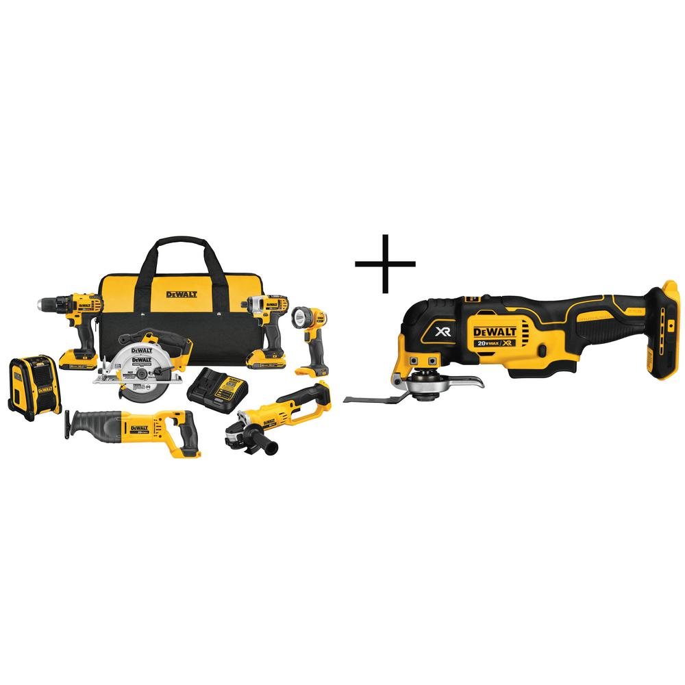 DEWALT 20-Volt MAX Lithium-Ion Cordless Drill/Driver Combo Kit with Bonus Oscillating Multi-Tool (8-Tool)
