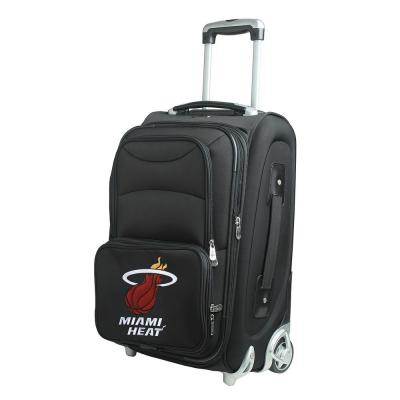Denco NBA Miami Heat 21 in. Black Carry-On Rolling Softside Suitcase