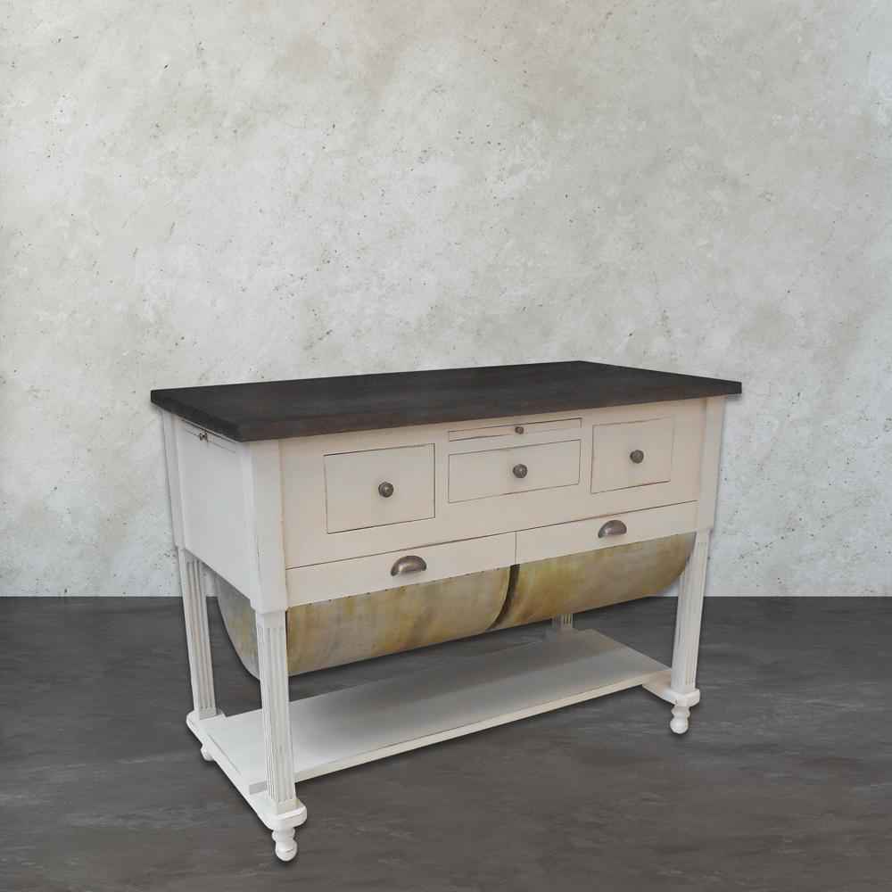 An Lighting Possum Belly Grey And White Kitchen Island With Drawer