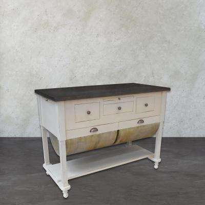 Possum Belly Grey and White Kitchen Island with Drawer