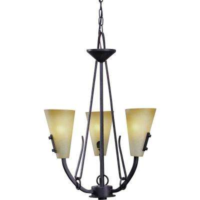 Lodge 3-Light Frontier Iron Interior Chandelier