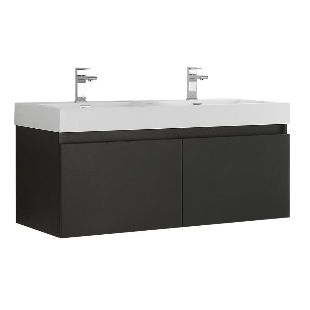 Fresca Mezzo 48 In Modern Wall Hung Bath Vanity Black With Double Top White Basins