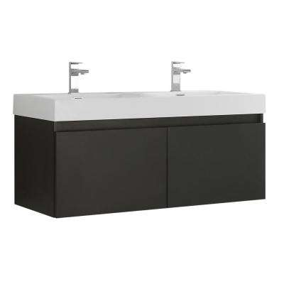 Mezzo 48 in. Modern Wall Hung Bath Vanity in Black with Double Vanity Top in White with White Basins