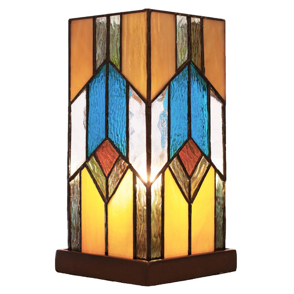 Multi Colored Desk Lamp With Mission Style Stained Glass