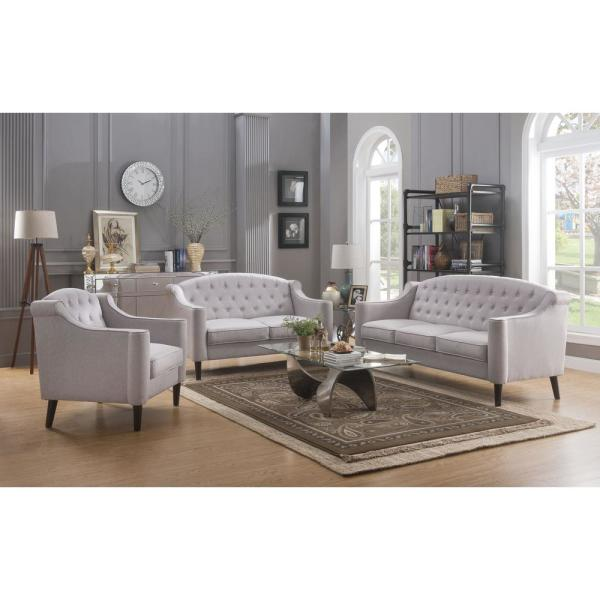 N-Voss 73 L Vintage Traditional Style Wooden Leg Button Tufted Cream Fabric Living Sofa