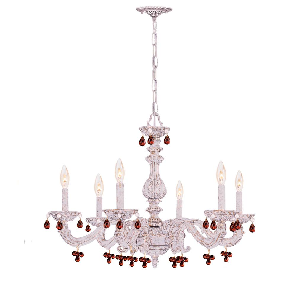 6-Light Antique White Chandelier - 6-Light Antique White Chandelier-5226-AW-AMBER - The Home Depot