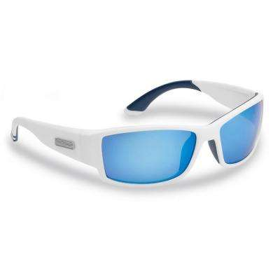 Razor Polarized Sunglasses Matte in White Frame with Smoke in Blue Mirror Lens