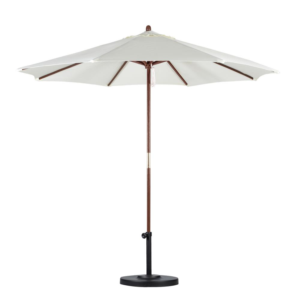 California Umbrella 9 ft. Wood Pulley Open Patio Umbrella in Natural Polyester