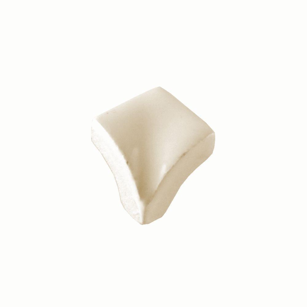 Daltile Semi-Gloss Mayan White 3/4 in. x 3/4 in. Quarter Round Inside Corner Glazed Ceramic Wall Tile-DISCONTINUED