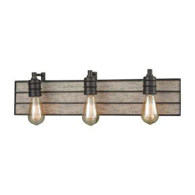 Brookweiler 3-Light Oil Rubbed Bronze with Washed Wood Backplate Bath Light