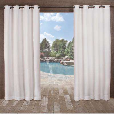 Delano 54 in. W x 96 in. L Indoor Outdoor Grommet Top Curtain Panel in Winter White (2 Panels)