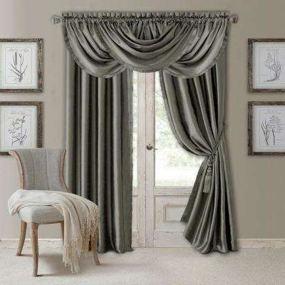 Elrene Versailles 52 in. W x 108 in. L Polyester Single Blackout Window Curtain Panel in Gray