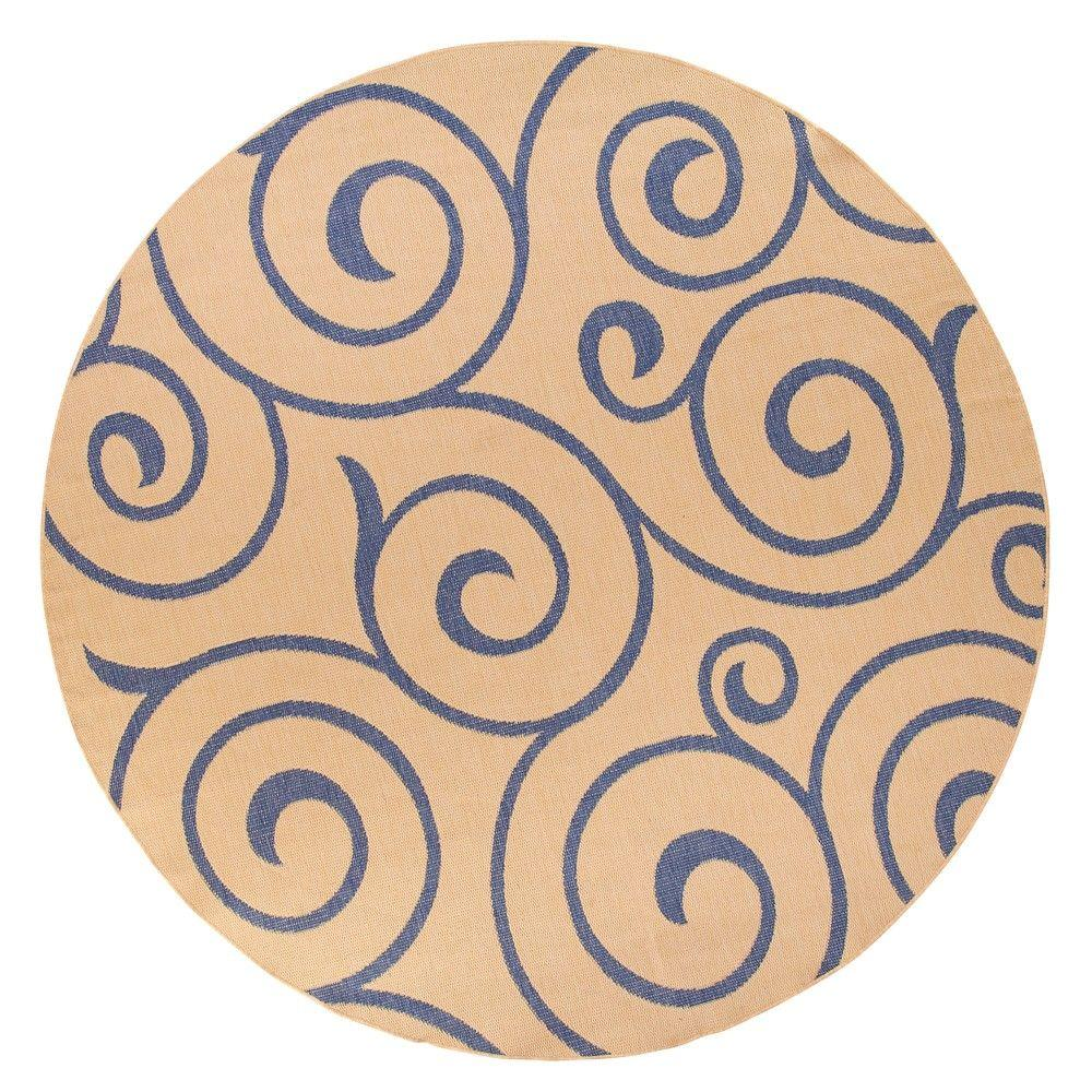 Home Decorators Collection Whirl Blue and Natural 8 ft. 6 in. Round Area Rug
