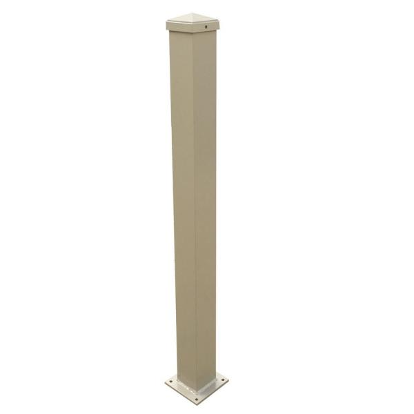 3 in. x 3 in. x 50 in. Clay Aluminum Post with Welded Base
