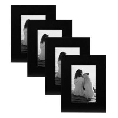Museum 4 in. x 6 in. Black Picture Frame (Set of 4)