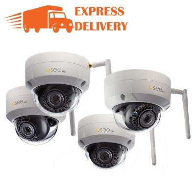 3MP Wi-Fi Indoor/Outdoor Dome Security Surveillance Camera with 16GB SD Cards (4-Pack)