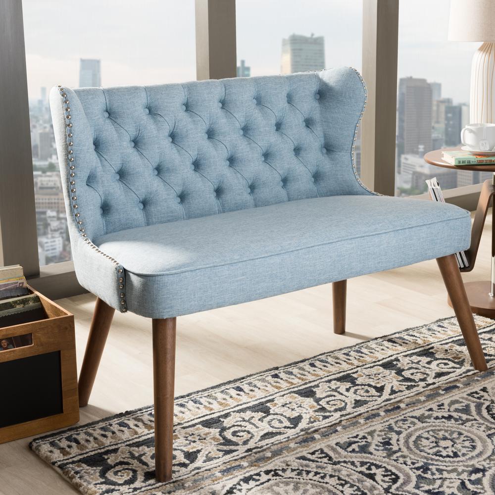 Scarlett Mid-Century Blue Fabric Upholstered Loveseat