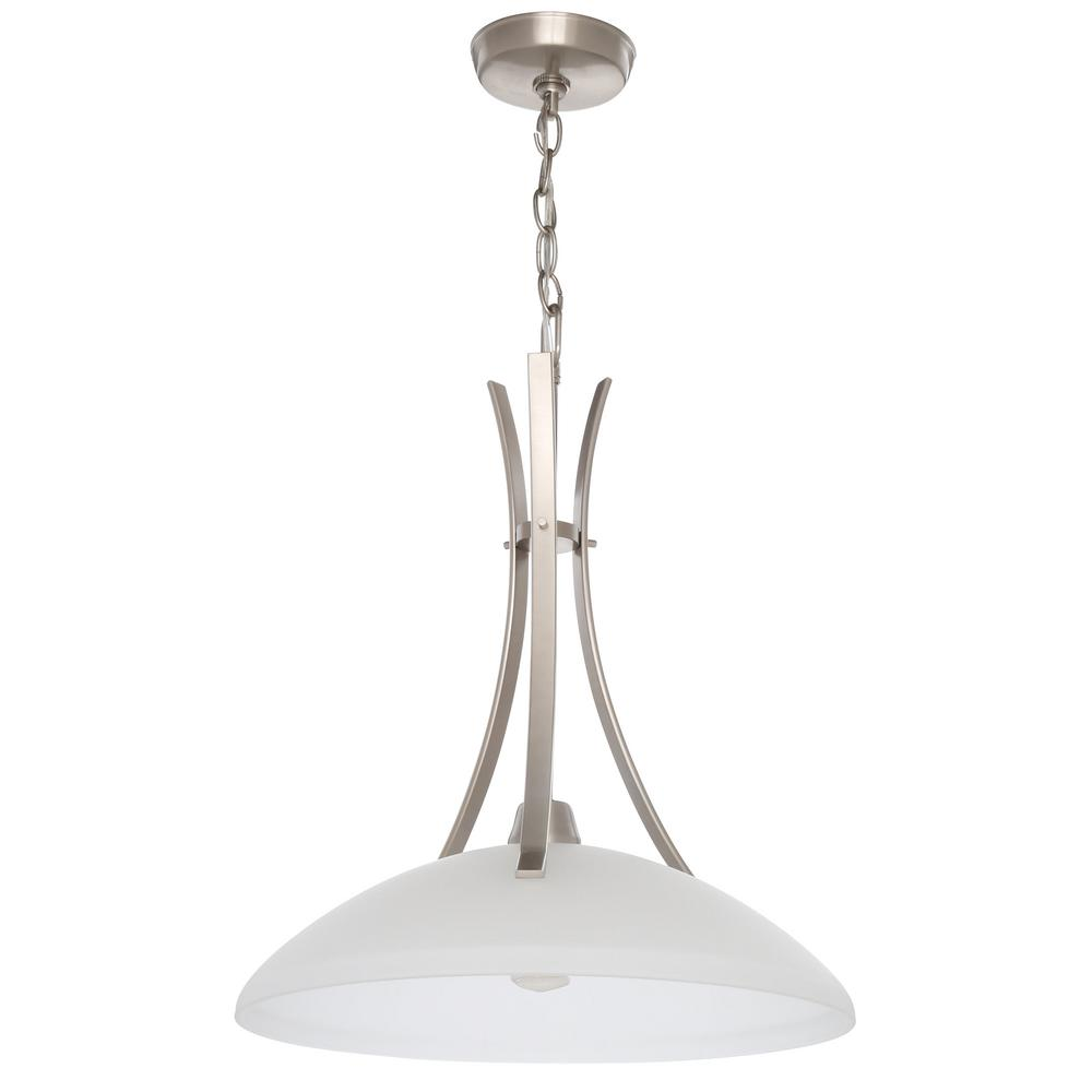 Progress Lighting Wisten Collection 1-Light Brushed Nickel Pendant with Etched Glass